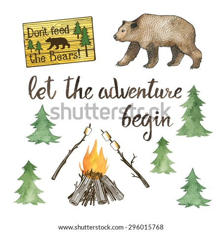 Hand drawn camping set with watercolor elements. Camp bonfire, roasted marshmallow, brown bear, spruce tree - stock vector