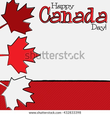 Hand drawn Canada Day card in vector format. - stock vector