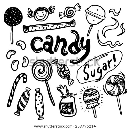 hand drawn candy doodle  - stock vector