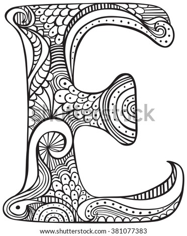Hand Drawn Capital Letter E Black Stock Vector 381077383