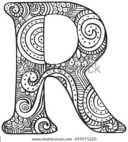 Hand Drawn Capital Letter R Black Stock Vector 699975220