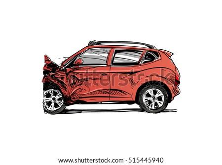 Hand Drawn Car Crash Illustration Auto Stock Vector 515445940 ...