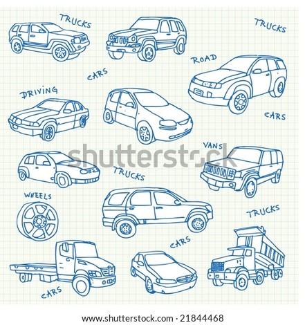 Hand-drawn car doodles. Click on my name below to see a huge collection of doodles.