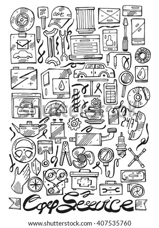 Hand drawn car service line icons vector set.Design concepts for car service, Car repairs, tire service, car diagnostics. Concepts for web banners and promotional materials. - stock vector