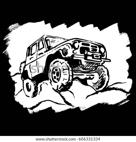 Hand drawn car. Vector illustration.