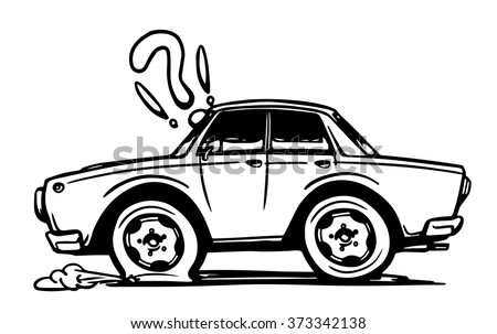 Hand drawn car with a flat tire. Vector illustration - stock vector