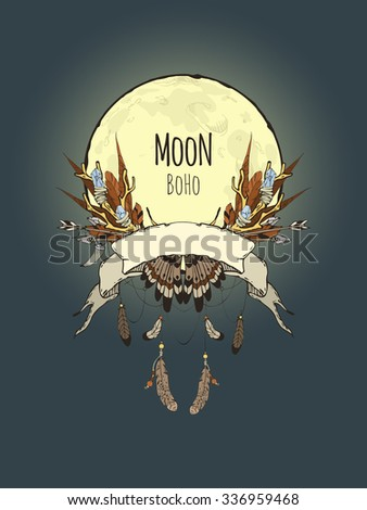 Hand-drawn card templates for your design with a composition of the elements Boho (branches with crystals, feathers, arrows, etc.) on the background of the full moon, moonlit - stock vector