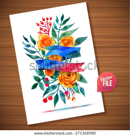 Hand-drawn card with flower. Vector illustration EPS 10. Floral watercolor ribbon bouquet design card can be used as greeting card, invitation card for wedding, birthday - stock vector
