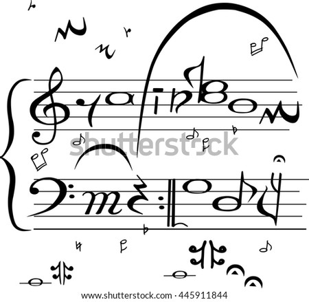 "Hand drawn card with sign ""Rainbow melody"" in music stave style isolated on white background. Vector"