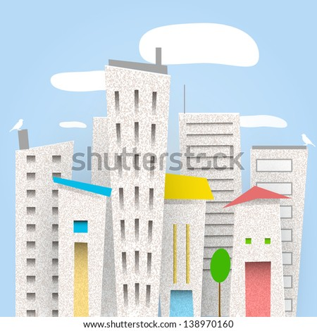 hand drawn cardboard city - stock vector