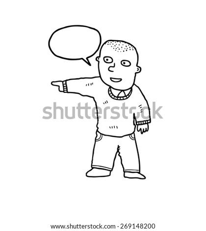 hand drawn cartoon bald man - stock vector