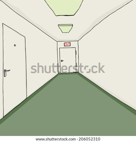 Hand drawn cartoon corridor background with green carpeting