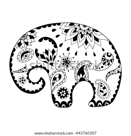 Thai elephant stock images royalty free images vectors for Cartoon elephant coloring pages