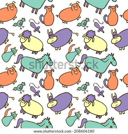 Hand Drawn Cartoon Farm Animals Seamless - stock vector