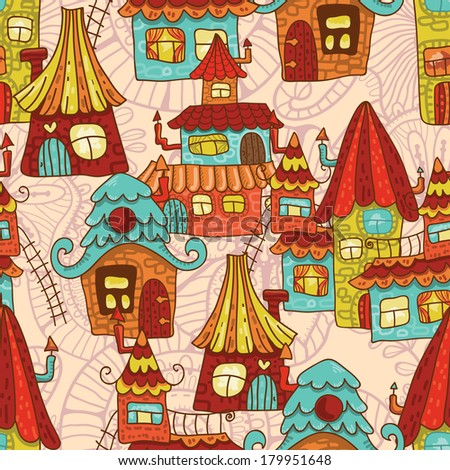 Hand drawn cartoon houses seamless pattern.  All objects are conveniently grouped on different layers and are easily editable - stock vector