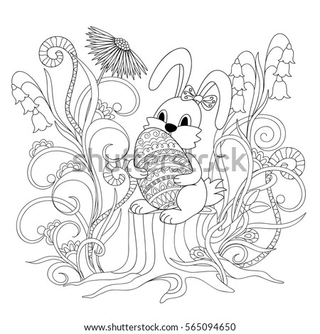 Hand drawn cartoon little rabbit sitting on the stump and keeping ornamental egg  for Easter greeting card, invitation, decorate kids room, wall, adult and children coloring book. eps 10
