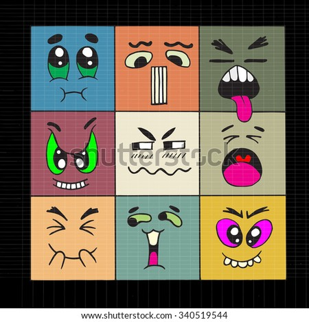 Hand drawn cartoon monster faces ,doodle Style .Vector Collection