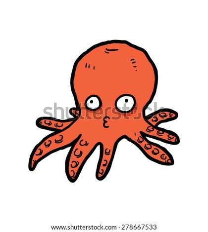 hand drawn cartoon octopus