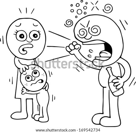 Hand drawn cartoon of drunk man shouting at his scared family. - stock vector