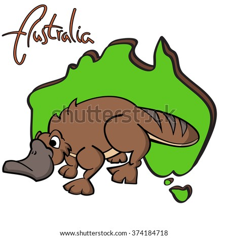 "Hand drawn cartoon platypus with Australian continent silhouette as a background and ""Australia"" lettering."