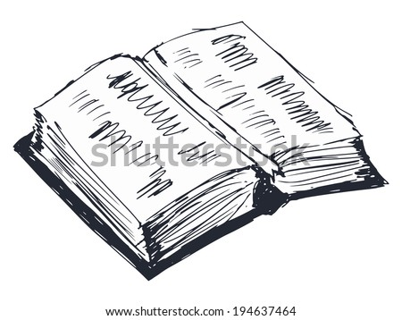 hand drawn, cartoon, sketch illustration of open book - stock vector