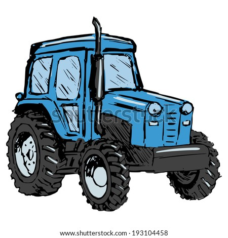 hand drawn, cartoon, sketch illustration of tractor