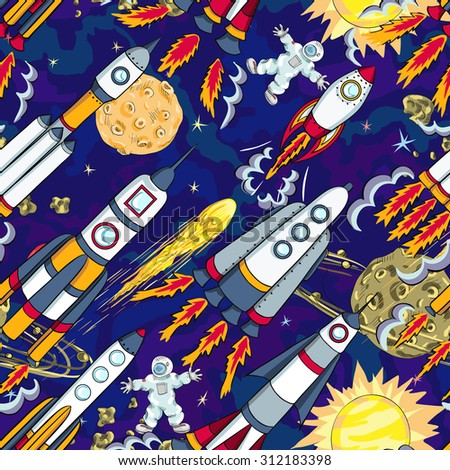 hand drawn cartoon space seamless pattern. rockets, spacemen, planets and stars - stock vector
