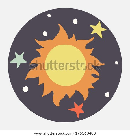 Hand drawn cartoon sun and stars. Childish doodle space illustration. Flat icon design. - stock vector