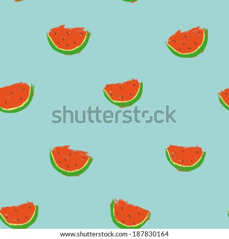 hand drawn cartoon watermelon seamless pattern, cute summer design, vector illustration - stock vector