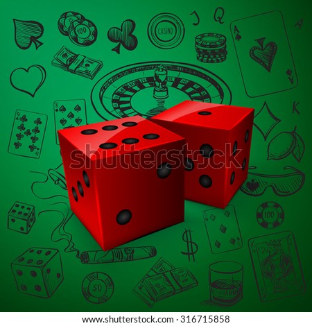 Hand drawn Casino icons set with dice game and with a hand of aces playing cards, dice, roulette board, casino chips or tokens and lucky number 777 - stock vector