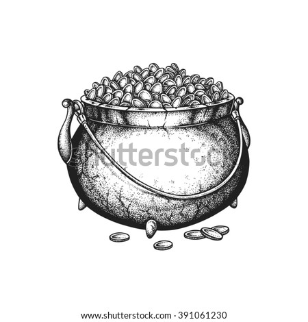 Hand drawn cast-iron pot full of golden coins. Saint Patricks Day. Vector illustration