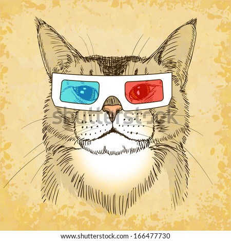 Hand Drawn Cat with 3d Glasses. Vector illustration, eps10. - stock vector