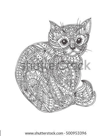 Hand Drawn Cat With Ethnic Floral Doodle Pattern Coloring Page