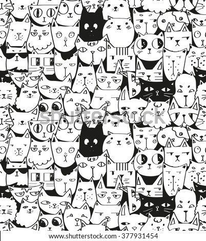hand drawn cats seamless vector pattern. Doodle art. - stock vector
