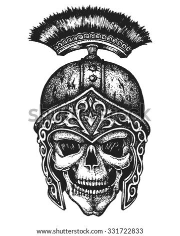Hand drawn centurion skull in galea helmet. Vector illustration