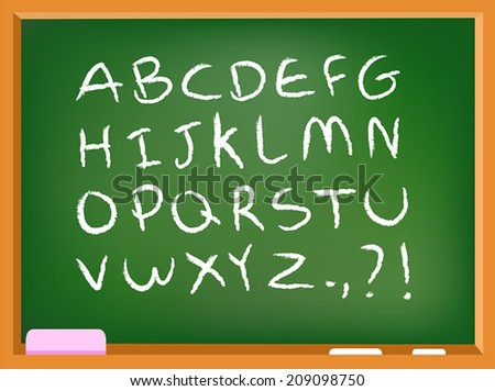 Hand drawn chalk alphabet on a chalkboard - stock vector