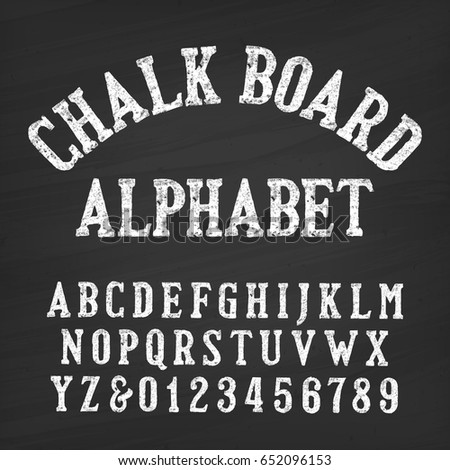 Hand drawn chalk board alphabet font. Vintage letters and numbers on a distressed background. Retro vector typeface for your design.