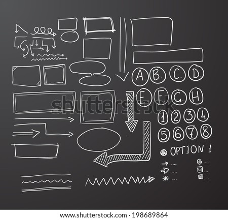 Hand drawn chalk vector text box collection. Vector eps10.  Bonus: arrows :)