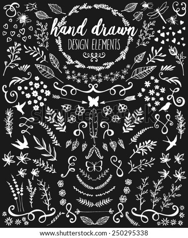 Hand drawn chalkboard design elements including laurels, wreaths, floral, leaves, birds, bugs and swirls. - stock vector