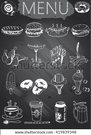 Hand-drawn chalkboard menu. Retro style fast food designs. - stock vector