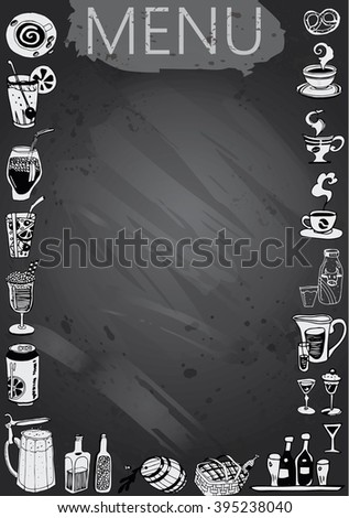 Hand-drawn chalkboard menu with cocktails and soft drinks