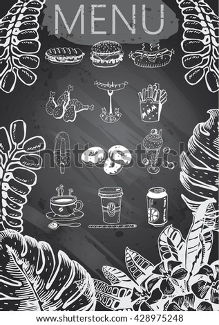 Hand-drawn chalkboard menu with tropical elements. Retro style fast food designs.  - stock vector