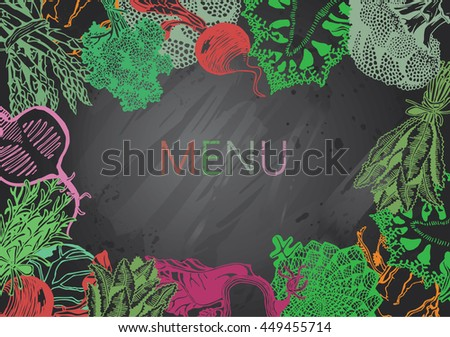 Hand-drawn chalkboard menu with Vegetables. Organic Food. - stock vector