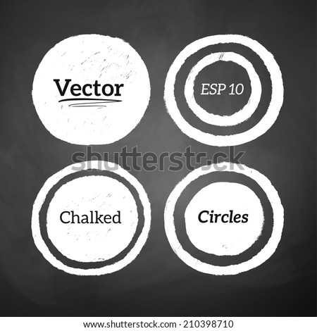 Hand drawn chalked circles and rings on blackboard background. Vector set - stock vector