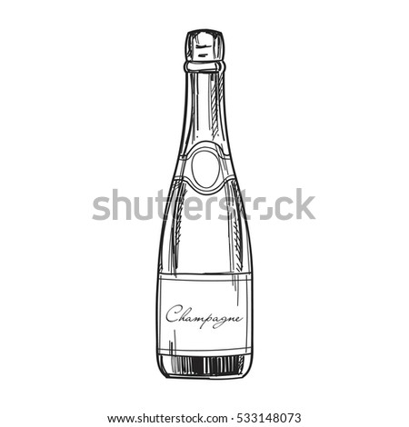 Hand Drawn Champagne Bottle Vector Template Stock Vector 533148073 ...