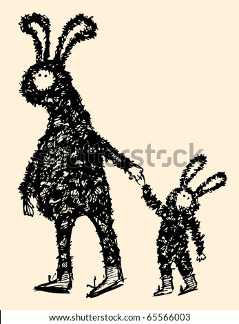 Hand drawn characters in rabbits fancy dress. - stock vector