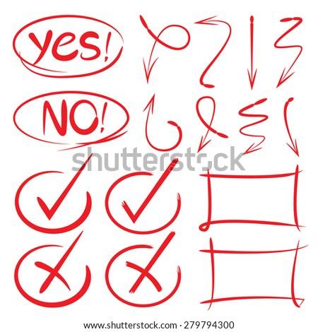 hand drawn check mark, arrows, circles, frames  - stock vector