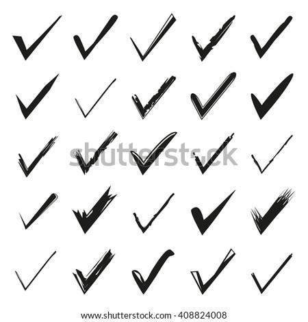 hand drawn check mark, tick symbol, grunge check mark vector illustration - stock vector