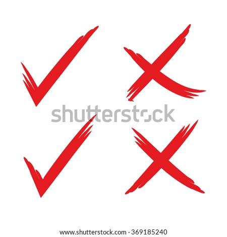 hand drawn check mark, wrong mark, sketch check mark - stock vector