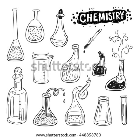 Hand drawn chemistry icons sketch set. Doodle flasks for your design. - stock vector